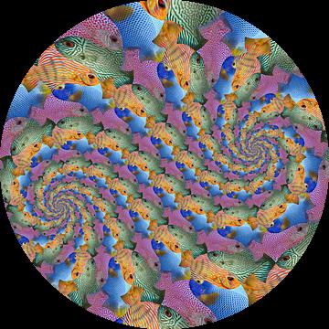 Dubbele Spiraal van Kwartet Vissen van Tis Veugen
