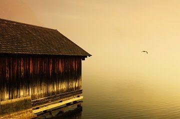 Bootshaus Sonnenuntergang von Frank Herrmann