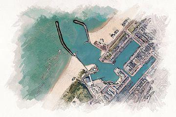 Kaart van de Haven Scheveningen in Aquarel Stijl van Aquarel Creative Design