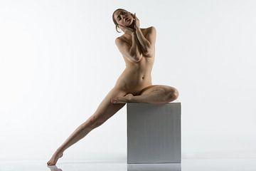 Artistiek naakt op een poseer kubus