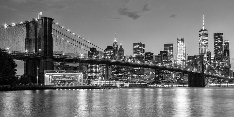 Skyline New York zwart-wit van Bart van Dinten