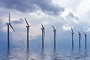 Windmolens op het IJsselmeer  van