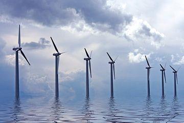 Windmolens op het IJsselmeer  van Nisangha Masselink
