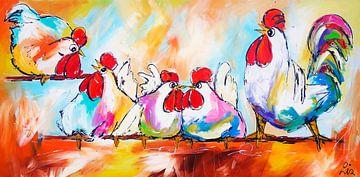 Kippen op stok van Vrolijk Schilderij