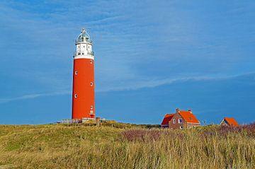 Leuchtturm Eierland van Texel mit Häuschen von Judith Cool
