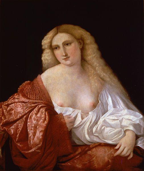 Portrait of a Woman known as Portrait of a Courtesan, Palma Vecchio von Meesterlijcke Meesters
