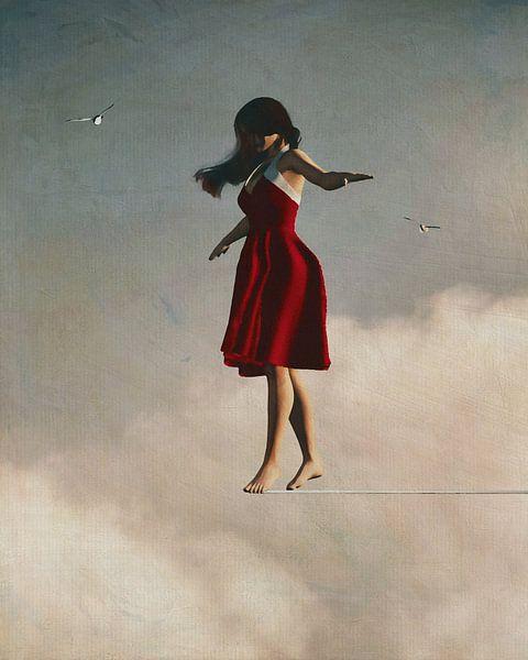 Meisje wandelt in de wolken van Jan Keteleer