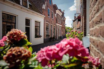 Smal straatje met Nederlandse gevelhuisjes in oud stadje van Fotografiecor .nl
