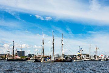 Windjammer on the Hanse Sail in Rostock, Germany van Rico Ködder