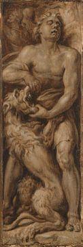 Samson zerreißt den Löwen, Maarten van Heemskerck, um 1550 - um 1560.