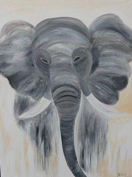 olifant canvas acryl van Jolanda van den berg Thomas