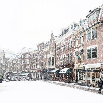 Winter in Utrecht. De Vismarkt onder een dik pak sneeuw.