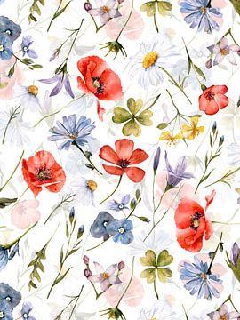 Hygge klaproos en wilde bloemenweide van Uta Naumann