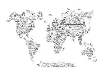 Fine Line World Map Black and White van AMB-IANCE .com