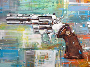 Revolver (Colt Python) schilderij van Jos Hoppenbrouwers