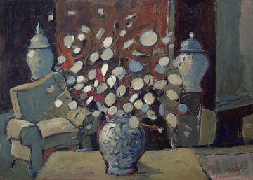 Delfts blauwe vaas met Judaspenningen van Nop Briex