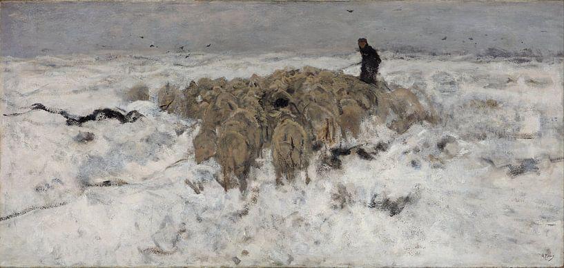 Kudde schapen met herder in de sneeuw, Anton Mauve van Meesterlijcke Meesters