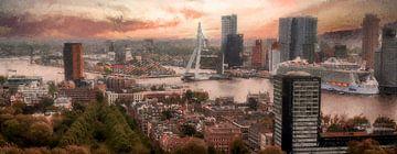 Panorama Rotterdam Skyline van Digitale Schilderijen