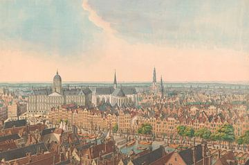Panorama von Amsterdam, mit dem Palast auf dem Dam-Platz und der Nieuwe Kerk, anonym