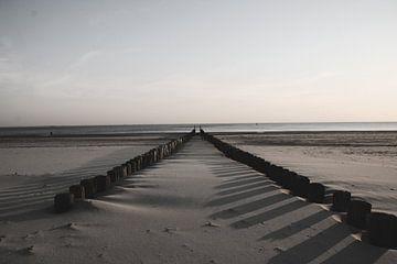 Strandseeland schwarz-weiß von Verhagefotografie