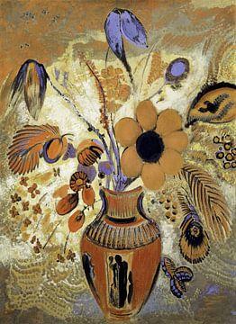 Etruskische Vase mit Blumen von Rudy en Gisela Schlechter