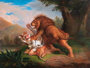 Tiger und Löwe streiten um ein Rehkitz, Johann Wenzel Peter