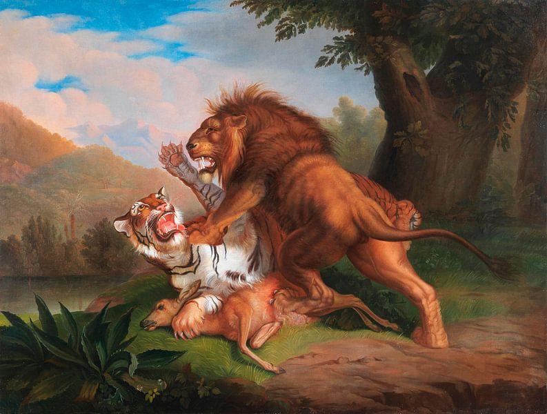 Tiger und Löwe streiten um ein Rehkitz, Johann Wenzel Peter von Meesterlijcke Meesters