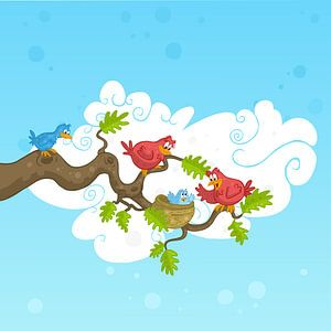 Vogeltjes met kuikentje
