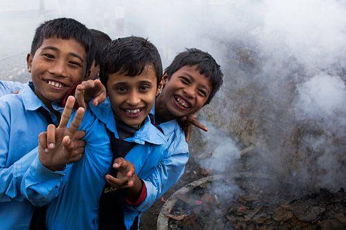 Kids in Nepal van