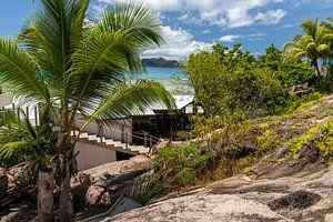 Zandstrand op het eiland Praslin van de Seychellen