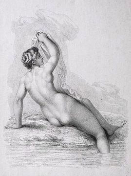 Alte schwarz-weiße Studie einer badenden jungen Frau von Henk Vrieselaar
