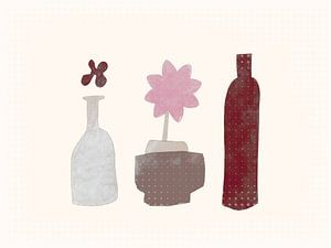 Stilleben mit Blume und Flasche