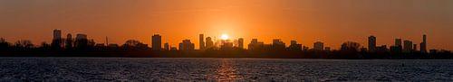 Panorama zonsondergang Kralingse Plas Rotterdam