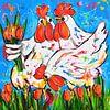 Kippen met tulpen van Vrolijk Schilderij thumbnail