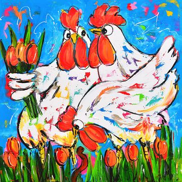 Kippen met tulpen van Vrolijk Schilderij