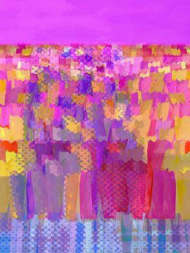 Lisse bloemen kleur op roze van Joost Hogervorst