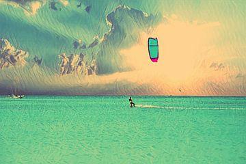 Kite surfen op de Caribische Zee van Nisangha Masselink