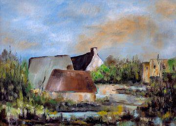 Landschap met huizen van Rien Buiter