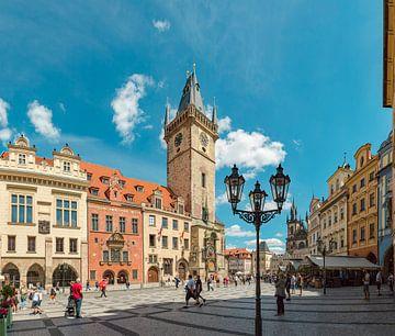 Oudestad raadhuis met zijn astronomische klok, Prag Praha, , Tsjechië van Rene van der Meer