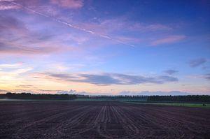 Zonsondergang Op Het Land
