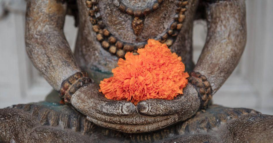 Boeddha met oranje bloem