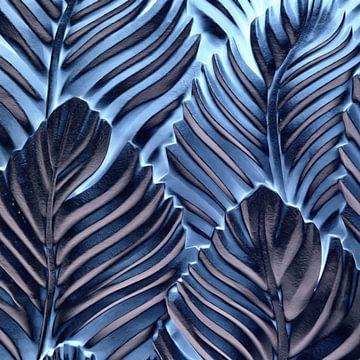 Abstrakte Palmenblätter in Blau von Maurice Dawson