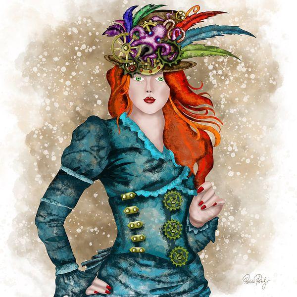 Steampunk - Junge Lady mit Hut von Patricia Piotrak