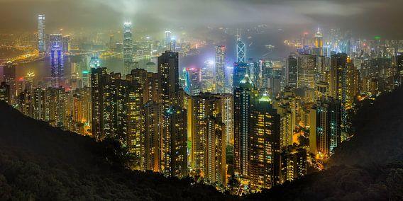 Hong Kong in de nacht van Roy Poots