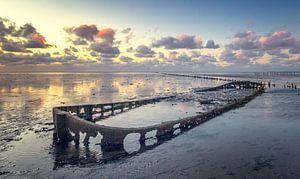 Bootwrak bij Wierum Waddenzee van