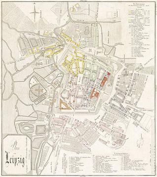 Stadsplattegrond en wegenkaart van Leipzig, Duitsland, 1832 van Atelier Liesjes