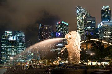 Merlion et skyline de nuit, Singapour sur Peter Schickert