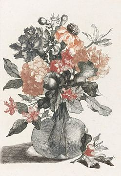 Glasvase mit Blumen von