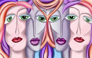 Abstrakte Kunst - Vier Frauen Urban Art