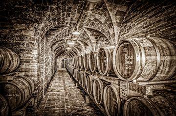 Wijnkelder in sepiatonen van Frans Scherpenisse